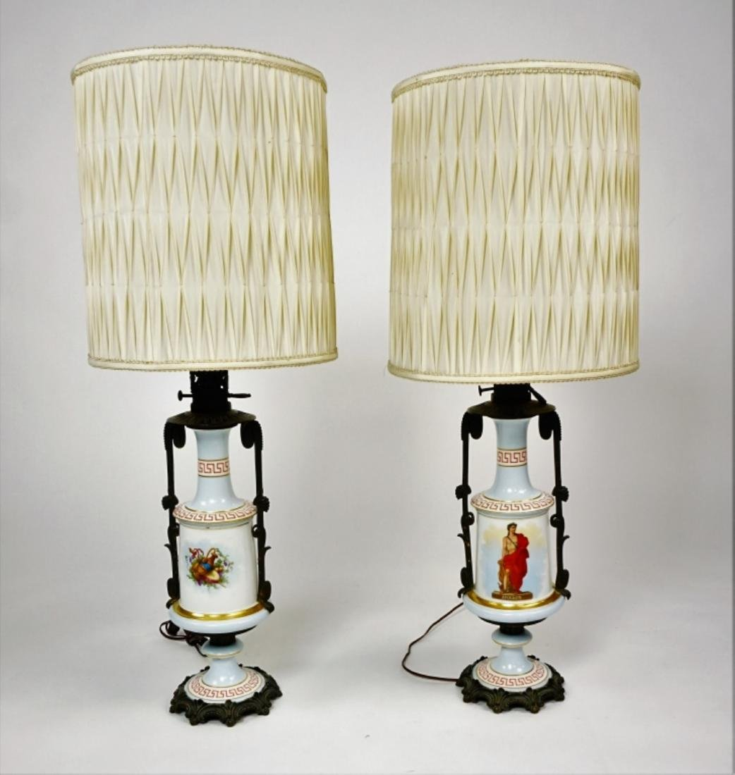 PAIR PORCELAIN NEOCLASICAL STYLE LAMPS
