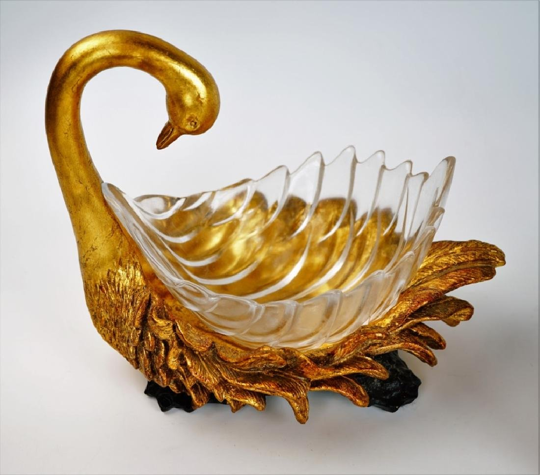 (2) SWAN CANDY/POTPOURRI DISHES