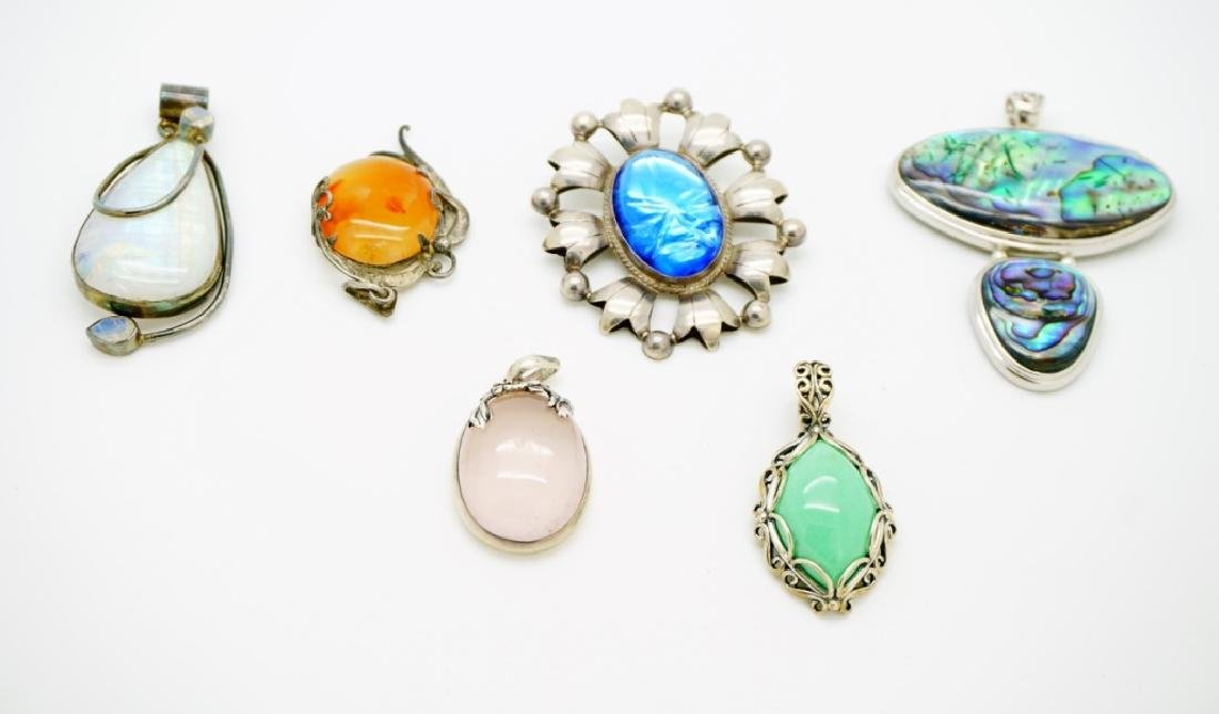 (6) ASSORTED SILVER PENDANTS WITH LARGE STONES