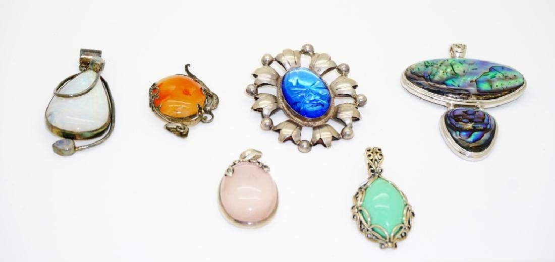 (6) ASSORTED SILVER PENDANTS WITH LARGE STONES - 2
