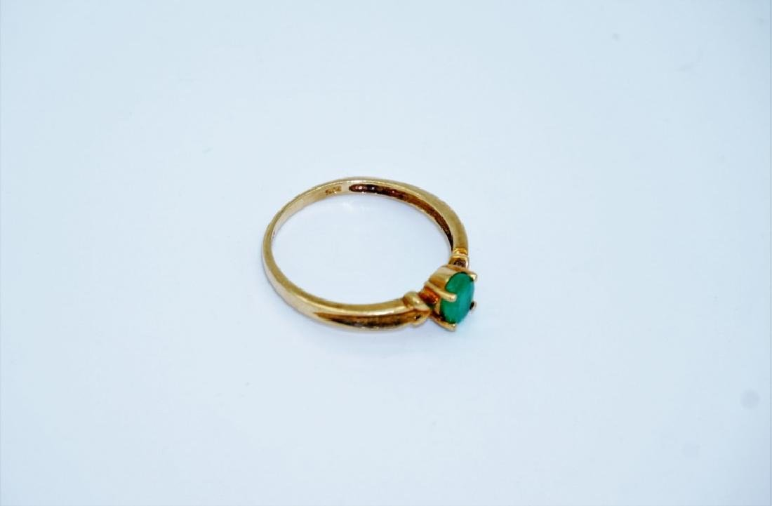 10K YELLOW GOLD & EMERALD RING - 2