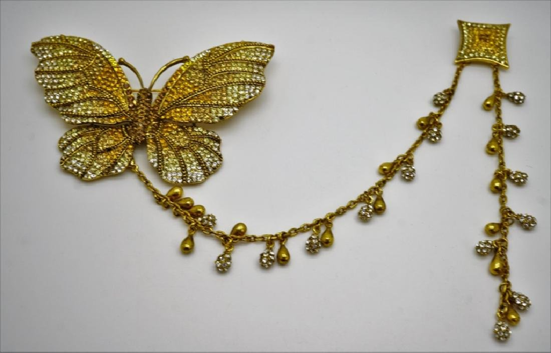 VINTAGE CRYSTAL BUTTERFLY KITE STYLE BROOCH
