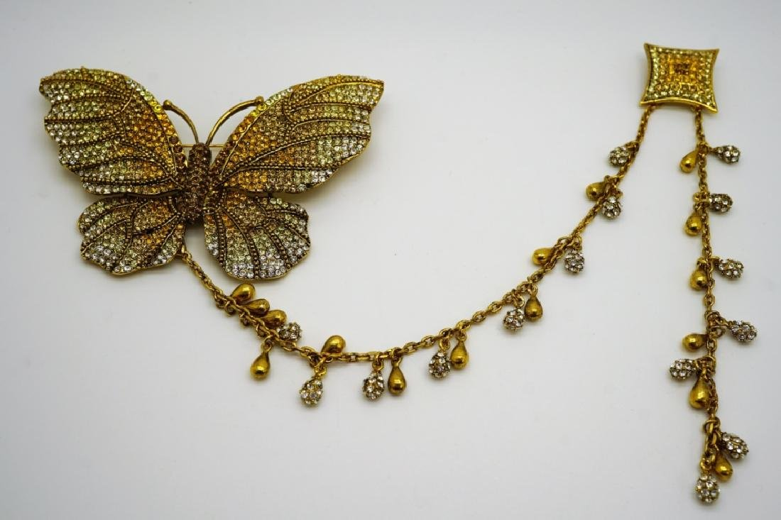 VINTAGE CRYSTAL BUTTERFLY KITE STYLE BROOCH - 2
