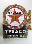 VINTAGE PORCELAIN TEXACO MOTOR OIL FLANGE SIGN