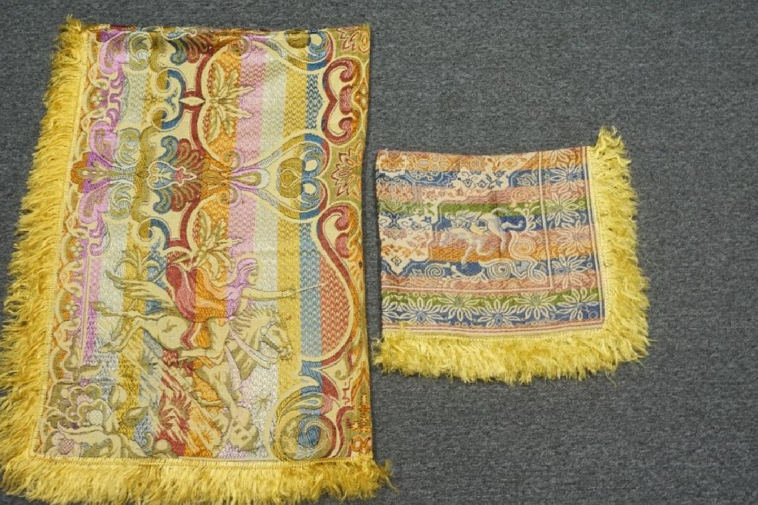(2) EMBRORDERED SHAWLS WITH SILK FRINGE