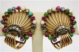 PAIR ANTIQUE 14K GOLD SHELL DIAMOND EARRINGS