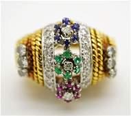 18K GOLD DIAMOND & GEMSTONE RETRO FASION RING