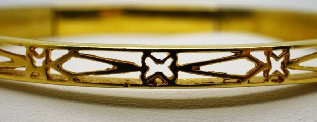 14K YELLOW GOLD & GARNET CUFF BRACELET - 4