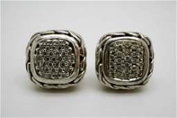 JOHN HARDY STERLING  DIAMOND EARRINGS