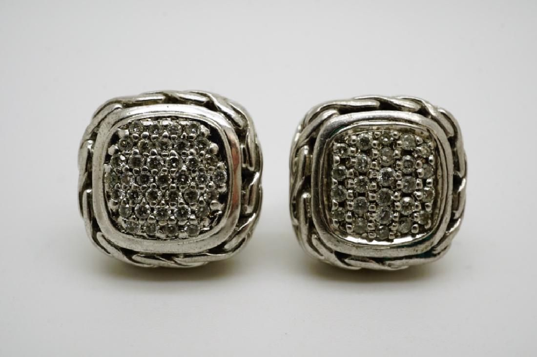 JOHN HARDY STERLING & DIAMOND EARRINGS