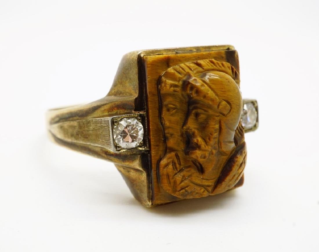 10K GOLD TIGERS EYE & DIAMOND CAMEO MEN'S RING