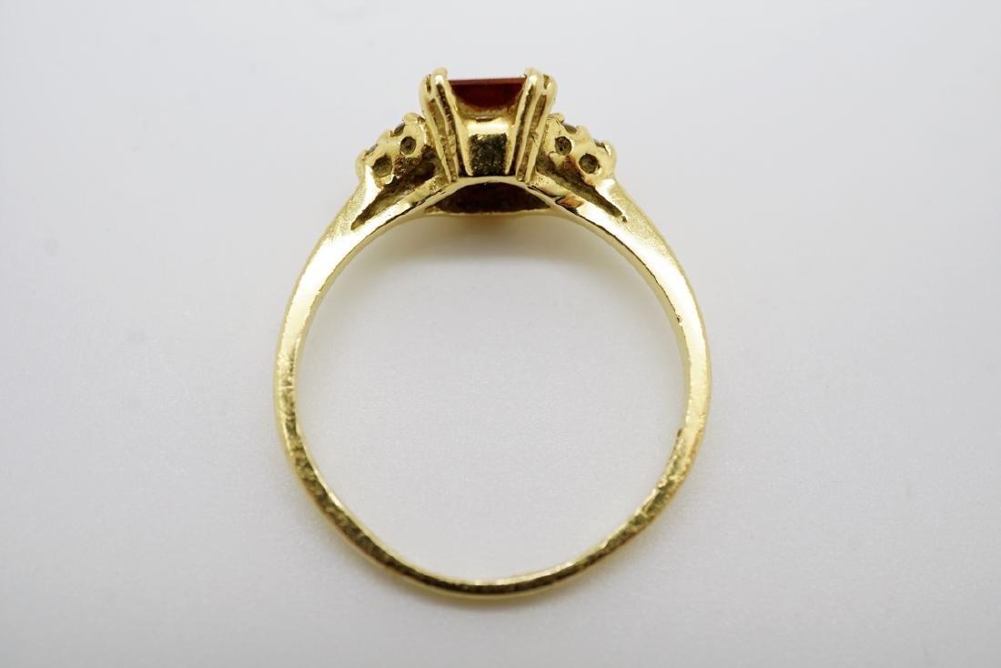14K YELLOW GOLD CITRINE & DIAMOND RING - 2