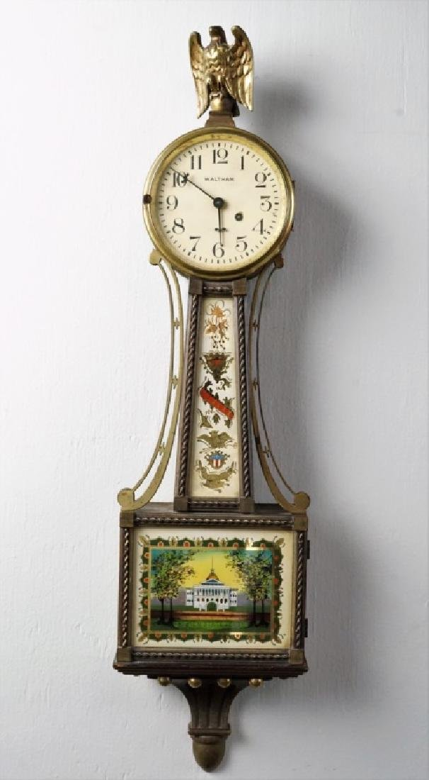 WALTHAM MAHOGANY BOSTON STATE HOUSE BANJO CLOCK