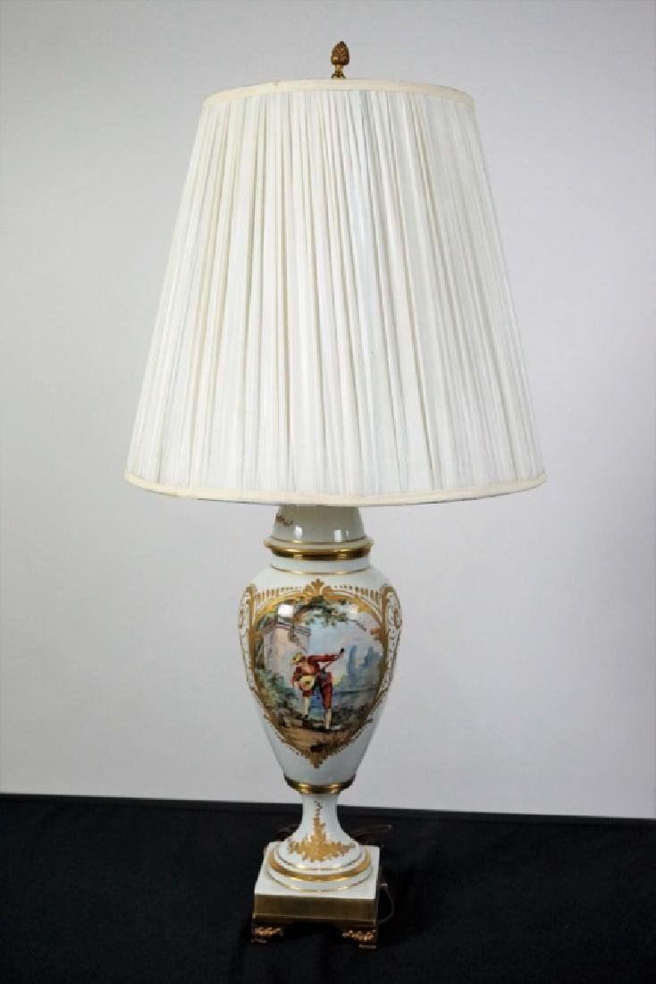 LIMOGES HAND PAINTED PORCELAIN VASE LAMP