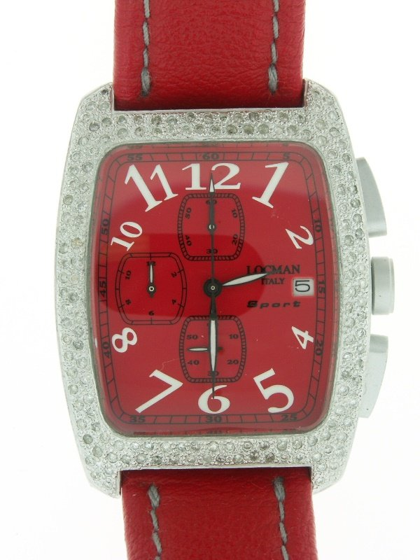 241: Men's Aluminum Diamond Locman Watch Red Leather