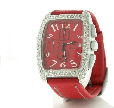 241: Men's Aluminum Diamond Locman Watch Red Leather - 2