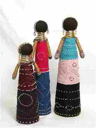 3 Ndebele Dolls from South Africa Zulu Nguni