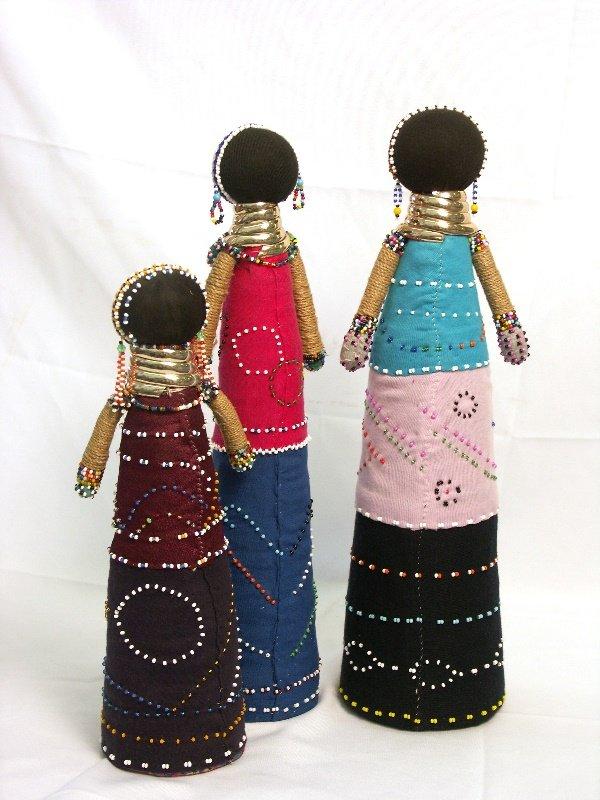30: 3 Ndebele Dolls from South Africa Zulu Nguni