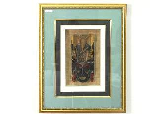 African Art Ceremonial Mask in Shadow Box