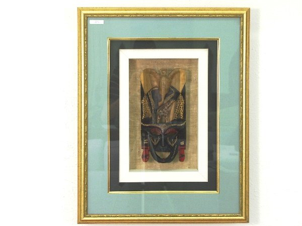 33: African Art Ceremonial Mask in Shadow Box