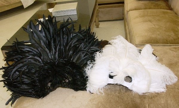37: Two Black & White Mardi Gras Masks-New Orleans, LA
