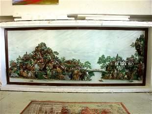 Chinese Gemstone Landscape Fountain 12'x4.5'