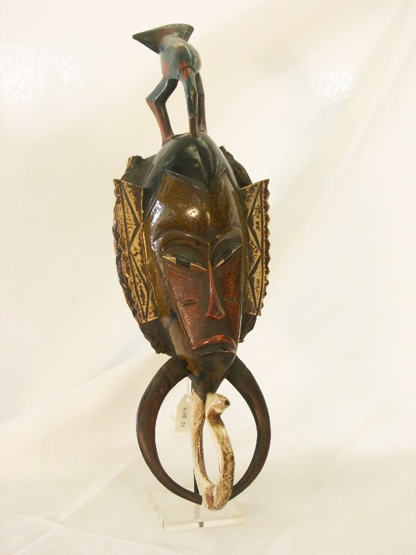 46: Vintage African Polychrome Ceremonial Mask-Ivory Co