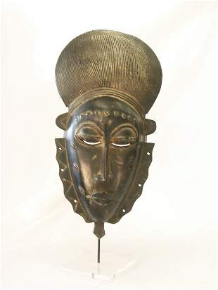 Vintage African Ceremonial Mask & Mount-Ivory Coast