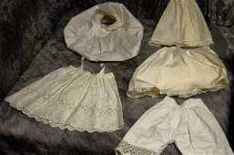LOT OF 5 ANTIQUEVINTAGE DOLL UNDERCLOTHING