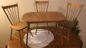 Doll Size Wooden Dining Room Set ~ Table w/4 Chairs ~ - 2