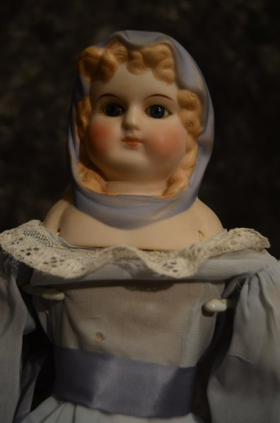 ARTIST MADE BISQUE SHOULDER HEAD DOLL - 2