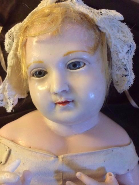 "UNIQUE RARE 21"" BENT LIMB POURED WAX ~ CRECHE CHILD ~ - 4"