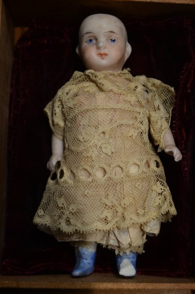 "CLASSY 4"" MINIATURE ANTIQUE BISQUE HEAD DOLL - 2"