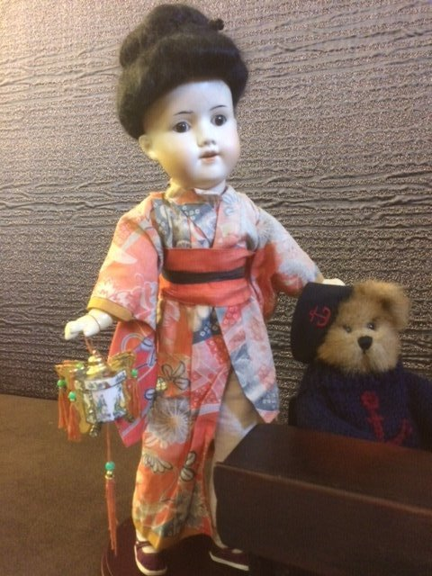 "15 1/2"" ANTIQUE ASIAN BISQUE HEAD DOLL"