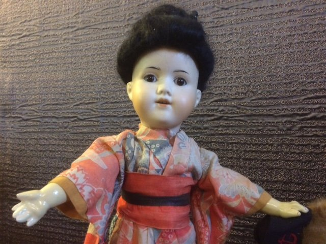 "15 1/2"" ANTIQUE ASIAN BISQUE HEAD DOLL - 2"