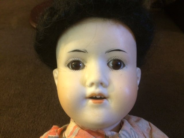 "15 1/2"" ANTIQUE ASIAN BISQUE HEAD DOLL - 4"