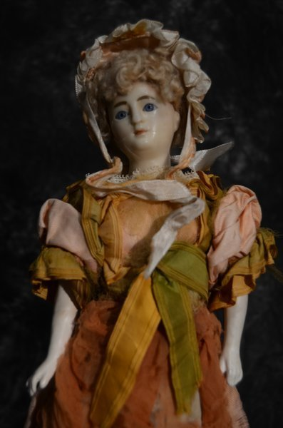 EARLY ANTIQUE ENGLISH/FRENCH POURED WAX PORTAIT DOLL