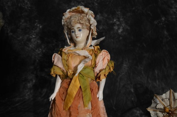 EARLY ANTIQUE ENGLISH/FRENCH POURED WAX PORTAIT DOLL - 2