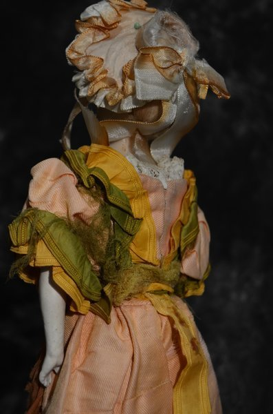EARLY ANTIQUE ENGLISH/FRENCH POURED WAX PORTAIT DOLL - 4