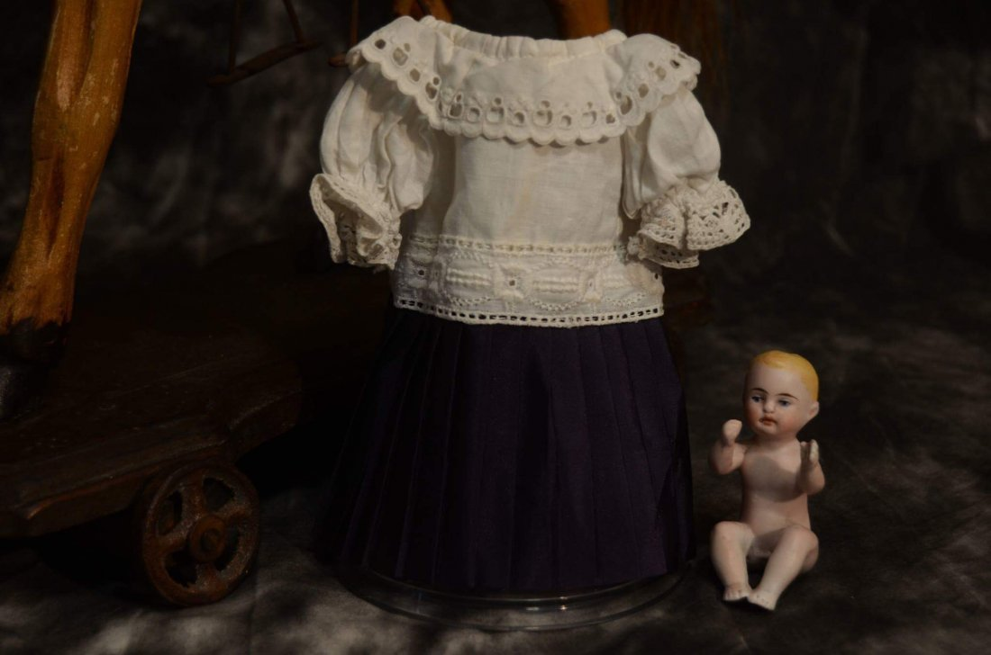ANTIQUE STYLE DOLL DRESS FOR SMALL ALL BISQUE DOLLS