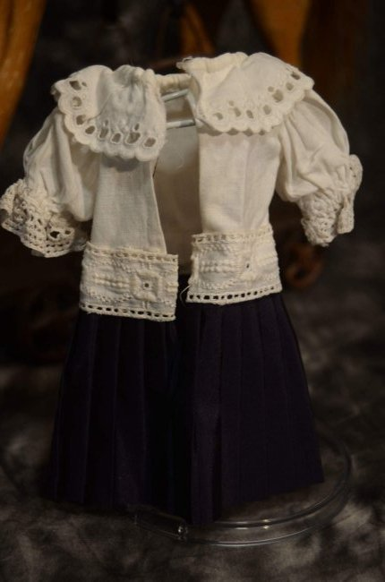ANTIQUE STYLE DOLL DRESS FOR SMALL ALL BISQUE DOLLS - 3