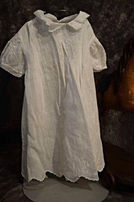ANTIQUE COTTON DRESS FOR ANTIQUE BISQUE DOLLS