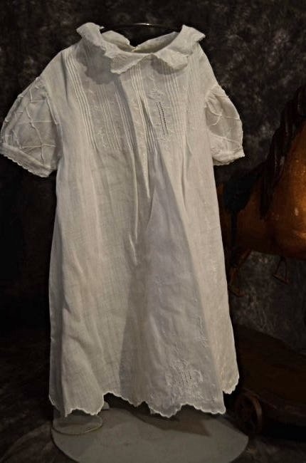 ANTIQUE COTTON DRESS FOR ANTIQUE BISQUE DOLLS