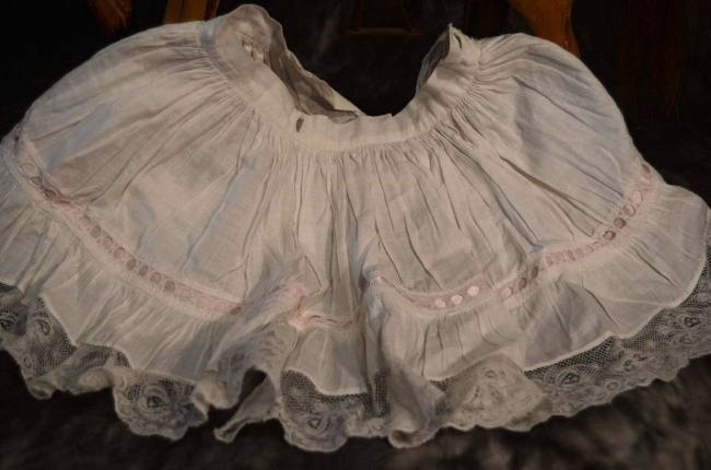 ANTIQUE/VINTAGE FULL GATHERED COTTON DOLL SLIP