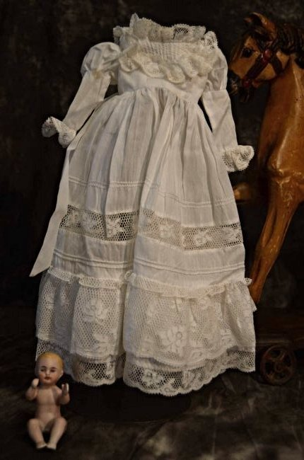 FABULOUS ANTIQUE DOLL DRESS COTTON N' LACE