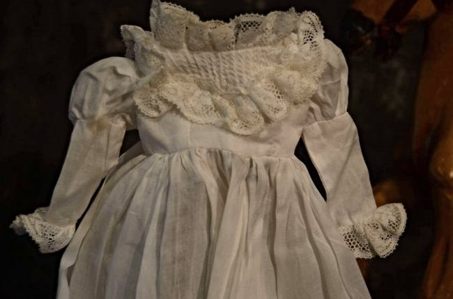 FABULOUS ANTIQUE DOLL DRESS COTTON N' LACE - 3