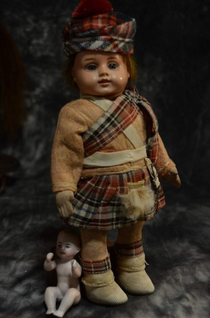 "9 1/2"" CELLULOID DOLL w ORIGINAL SCOTTISH ATTIRE"