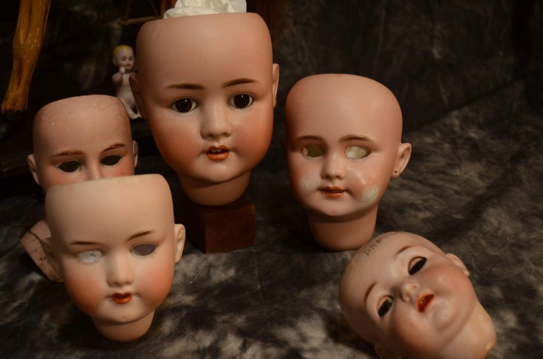 LOT OF 5 ANTIQUE BISQUE DOLL HEADS ~ DAMAGED ~