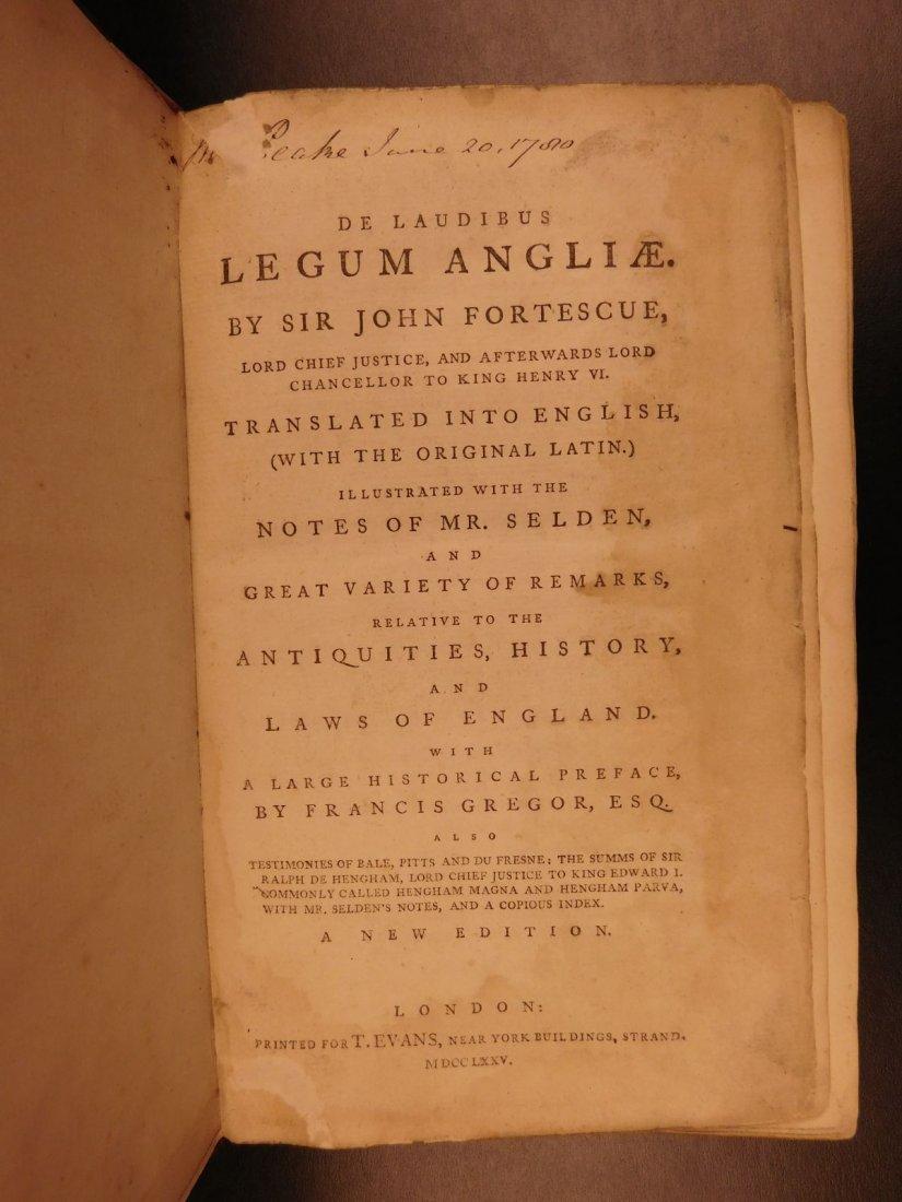 1775 English LAW John Fortescue Laudibus Legum England - 3