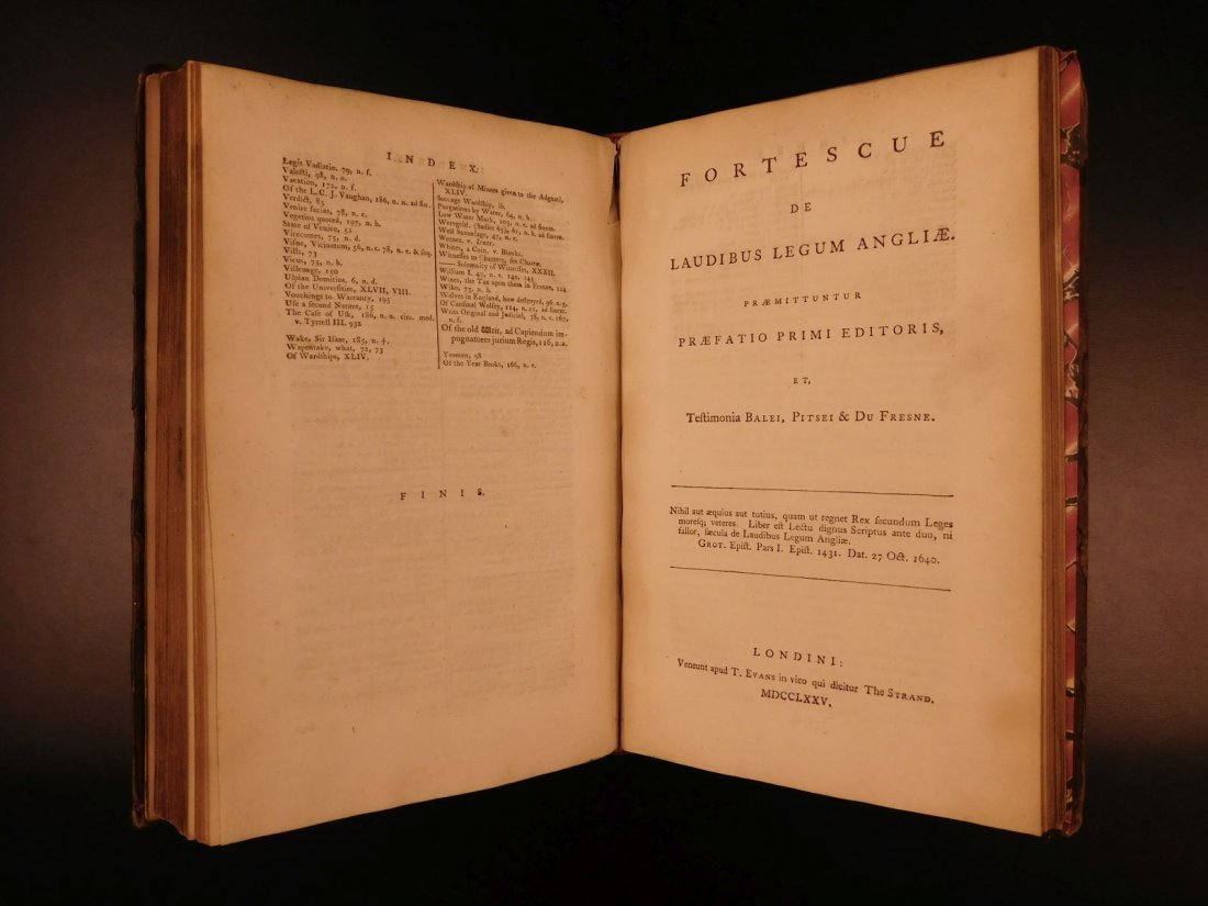 1775 English LAW John Fortescue Laudibus Legum England - 9